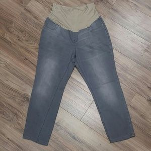 Old Navy 16 gray faded skinny cropped maternity